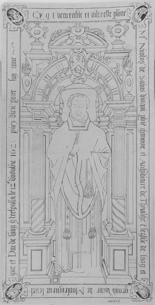 Dalle funéraire de Nicolas de Sains, chanoine de Laon