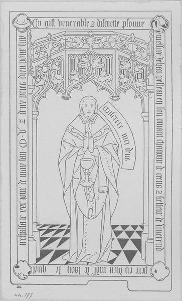 Dalle funéraire de Jean Pelleau, chanoine de Laon