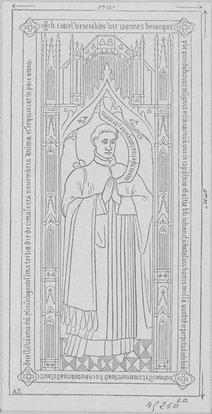 Dalle funéraire de Jean Bérangier, chanoine de Saint-Quentin