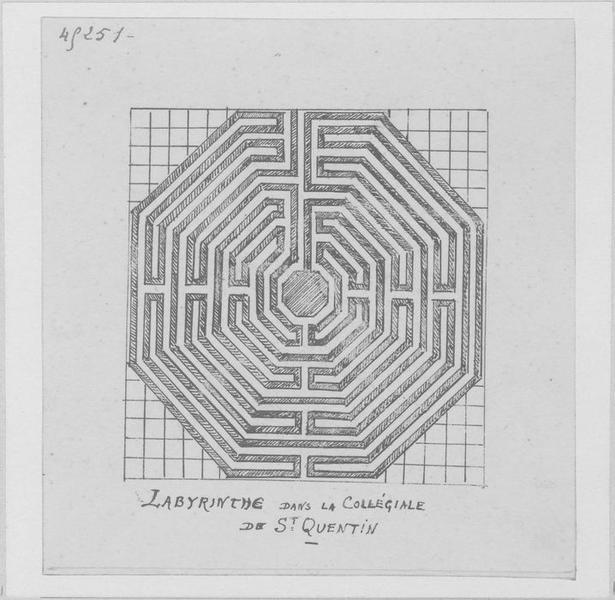 carrelage de sol (mosaïque) dit labyrinthe, vue générale