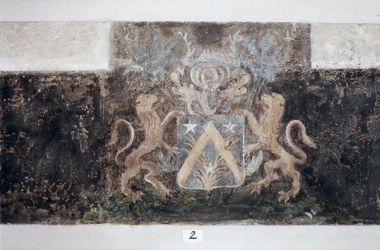 Chapelle de la Conception de la Vierge, peintures murales, détail de deux lions encadrant un blason, après restauration