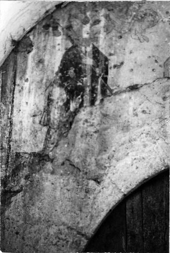 Peintures murales, détail d'un saint personnage accompagné d'un enfant, conduit par un ange