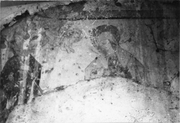Peintures murales, détail de la Vierge, d'un ange, et d'un saint personnage