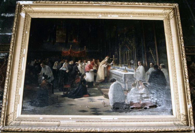 tableau : Mgr de Dreux-Brézé remettant les reliques dans le reliquaire de Bourbon, par Alfred Decaen, 1872