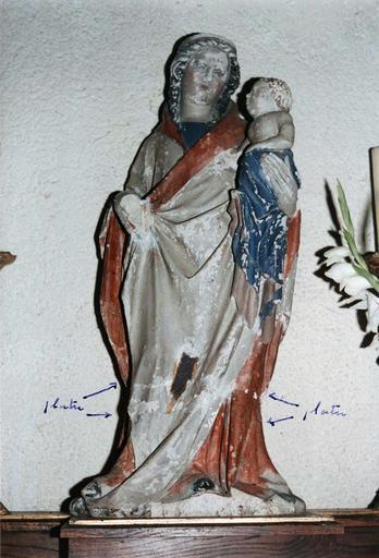 Statue : Vierge à l'Enfant, avant restauration