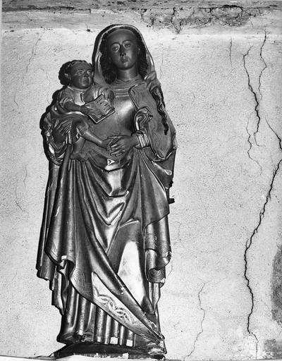 Statue : Vierge à l'Enfant, bois doré, 16e siècle