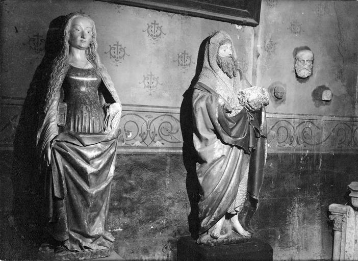 Statues : saint Jean-Baptiste et sainte Agnès, pierre polychrome, 15e siècle