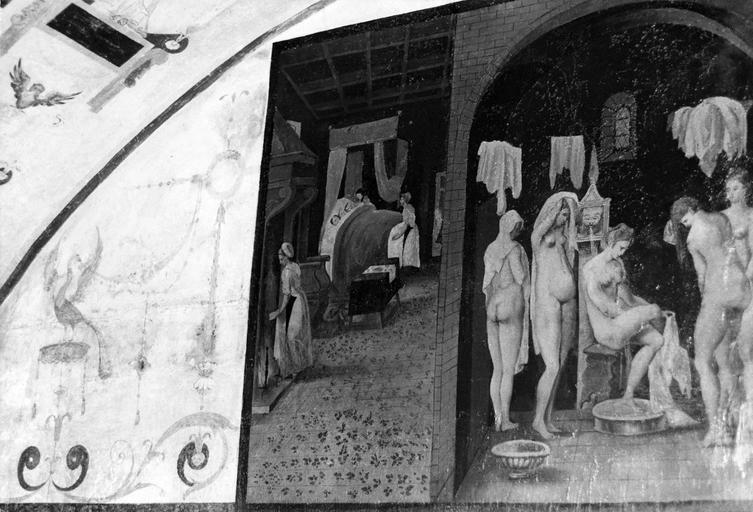 Tour sud, dessus de la porte, peinture murale représentant des femmes au bain, 16e siècle, après restauration