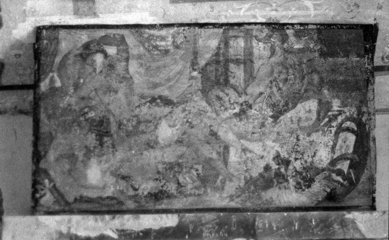 Cheminée de la tour sud, peinture murale représentant Mars et Vénus, 16e siècle, avant restauration