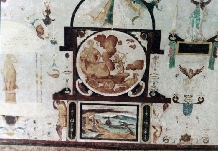 Tour sud la voûte, peinture murale, représentations d'allégories et de dieux dont Vénus sur son char accompagnée de Cupidon, 16e siècle, après restauration