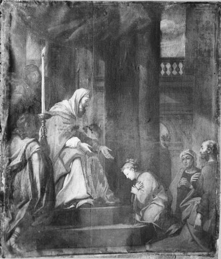 Tableau : La Présentation de la Vierge au temple, huile sur toile, 17e siècle, avant restauration
