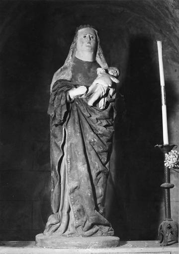 Statue dite «Notre-Dame-de-la-Roche», pierre polychrome, 16e siècle