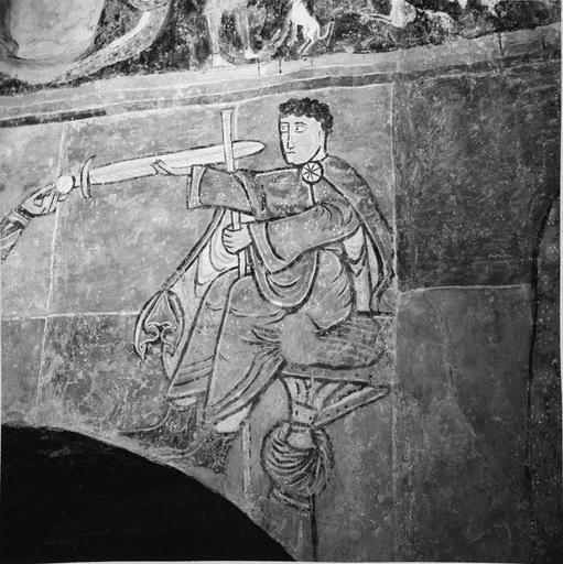 Peintures murales, 12e-15e siècles, détail d'un personnage avec une épée et d'un autre assis face à lui, après restauration