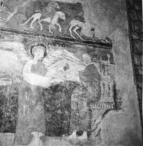 Peintures murales, 12e-15e siècles, détail de Raphaël et Tobias