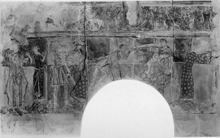 Peintures murales, 12e-15e siècles, détail du martyre de sainte Valérie