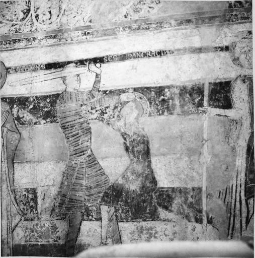 Peintures murales, 12e-15e siècles, détail d'un soldat sur le point d'abattre son épée sur un saint personnage
