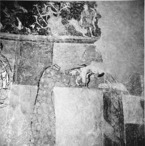 Peintures murales, 12e-15e siècles, détail de sainte Valérie offrant sa tête