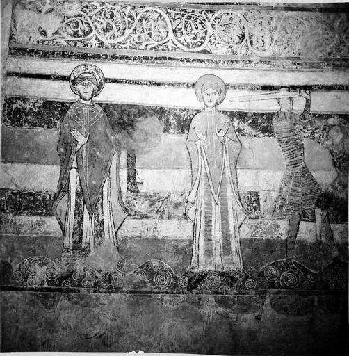 Peintures murales, 12e-15e siècles, détail de deux saints personnages