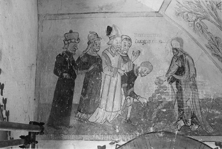 Peinture monumentale, la passion du Christ, 15e siècle, détail de la première scène