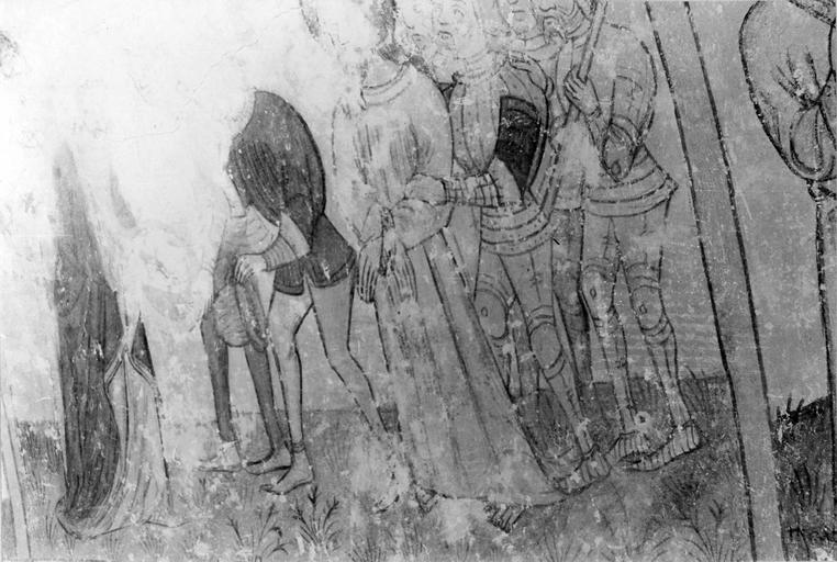 Peinture monumentale, la Passion de Christ, 15e siècle, détail de l'Arrestation du Christ