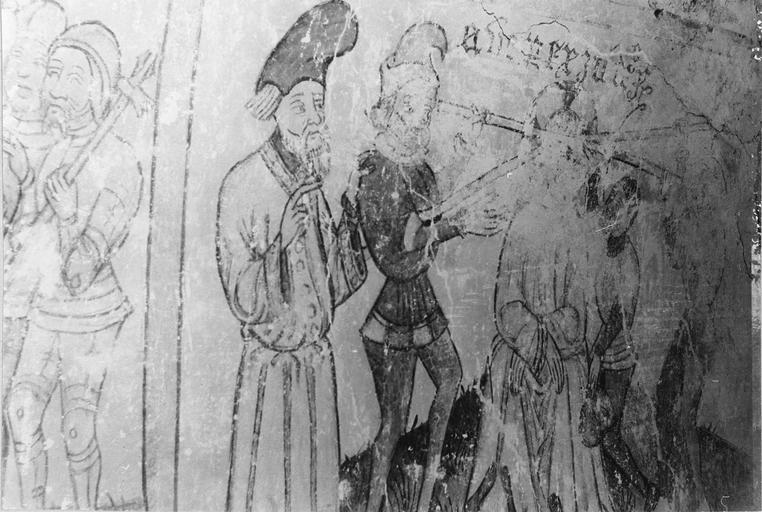 Peinture monumentale, la passion du Christ, 15e siècle, vue parttielle de la scène illustrant le Christ devant Pilate