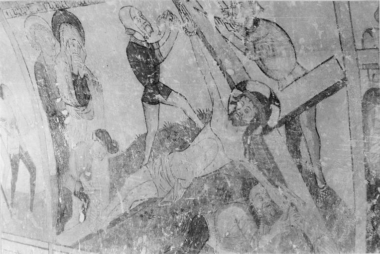 Peinture monumentale, la Passion de Christ, 15e siècle, détail de l'élévation de croix