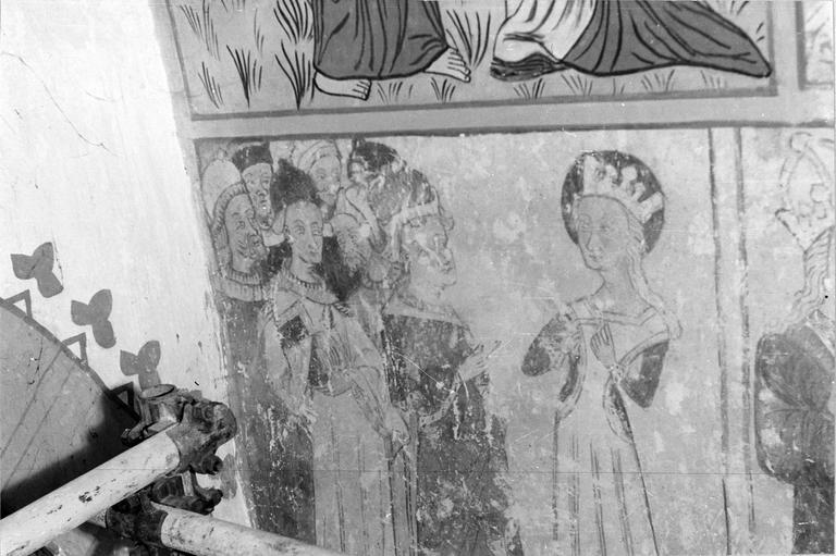 Peinture monumentale, vie de sainte Catherine, 15e siècle, détail de l'annonce de son châtiment à la sainte