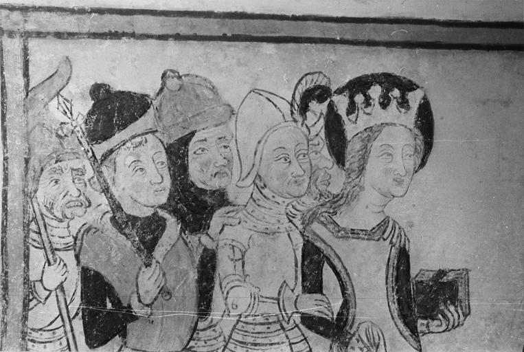 Peinture monumentale, vie de sainte Catherine, 15e siècle, détail de l'arrestation de sainte Catherine,  partie supérieure