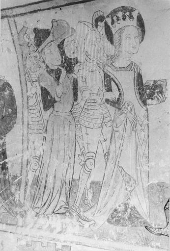 Peinture monumentale, vie de sainte Catherine, 15e siècle, détail de l'arrestation de sainte Catherine conduite devant le juge