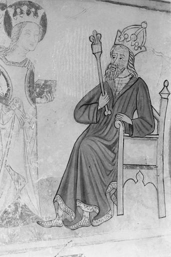 Peinture monumentale, vie de sainte Catherine, 15e siècle, détail de l'arrestation de sainte Catherine, détail de la sainte et du juge