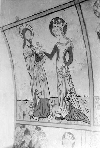 Peinture monumentale, vie de saint Catherine, 15e siècle, détail du mariage symbolique de la sainte et du Christ