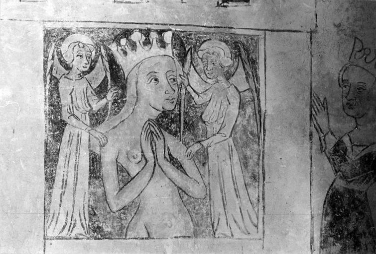 Peinture monumentale, vie de saint Catherine, 15e siècle, détail de la sainte nue entourée par des anges