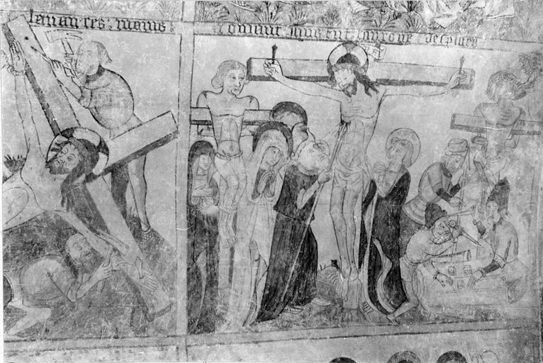 Peinture monumentale, la Passion de Christ, 15e siècle, détail de l'Elévation de la croix et de la Crucifiction
