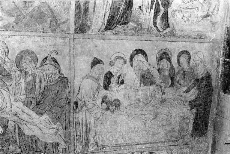 Peinture monumentale, la Passion du Christ, 15e siècle, détail de la Mise au tombeau