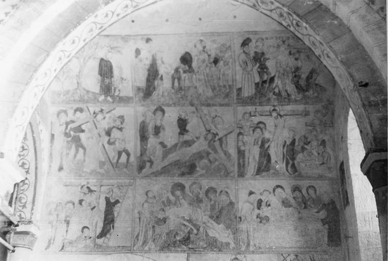 Peinture monumentale, la Passion du Christ, 15e siècle, vue d'ensemble des différentes scènes