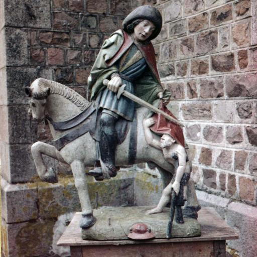 Sculpture : saint Martin, bois polychrome, après restauration de 1959