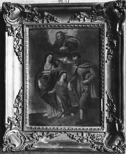 Tableau : La Sainte Famille, peinture sur cuivre, 17e siècle