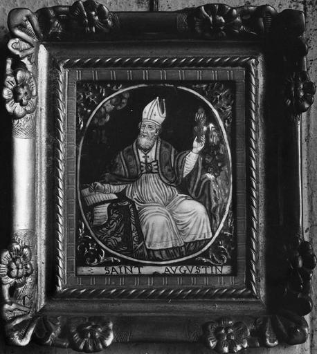 Tableau : Saint Augustin écrivant, émail peint, atelier de Limoges, 17e siècle