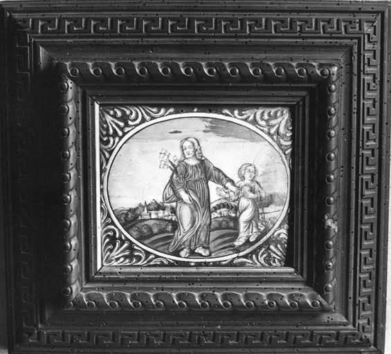 Tableau : Enfant Jésus portant le monde et donnant la main à saint Joseph (l')