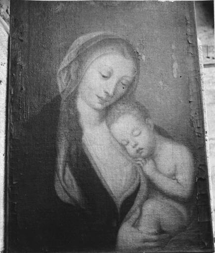 Tableau : La Vierge à l'Enfant, huile sur toile, 18e siècle, avant restauration
