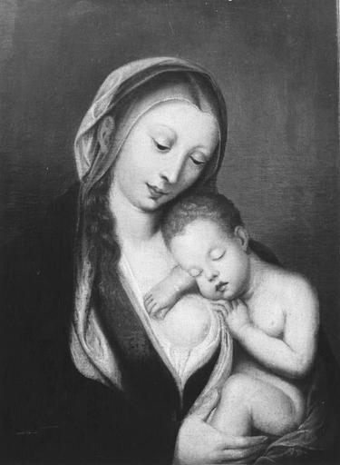 Tableau : La Vierge à l'Enfant, huile sur toile, 18e siècle, après restauration