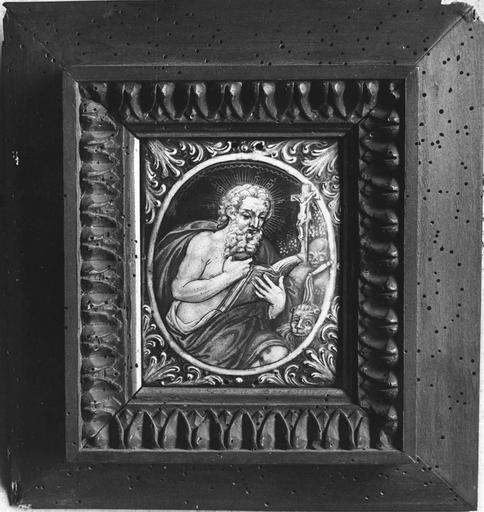 Tableau : saint Jérome, émail peint, atelier de Limoges, 18e siècle