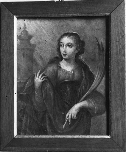 Tableau : sainte Barbe, peinture sur cuivre, 18e siècle