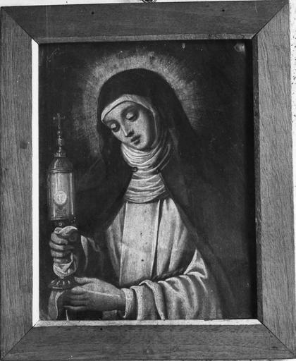 Tableau : sainte Claire, peinture sur cuivre, 18e siècle