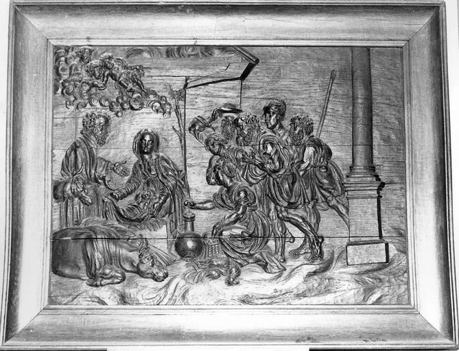 Bas-relief : L'Adoration des bergers, bois, 17e siècle