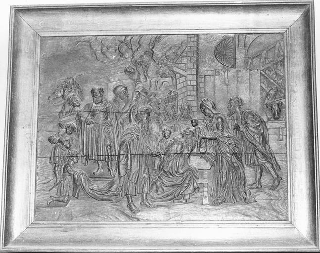Bas-relief : L'Adoration des mages, bois, 17e siècle