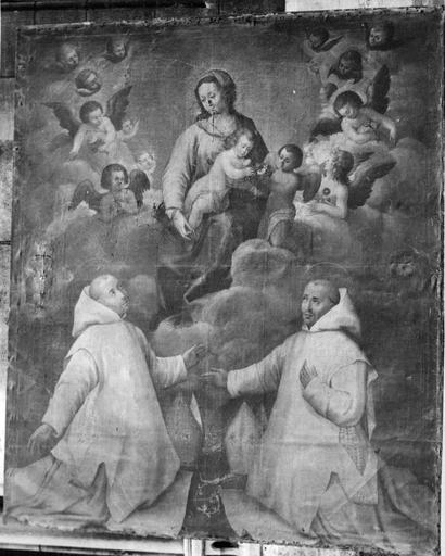Tableau : La Vierge entre deux Chartreux en prière, huile sur toile, 17e siècle, avant restauration