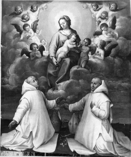 Tableau : La Vierge entre deux Chartreux en prière, huile sur toile, 17e siècle, après restauration