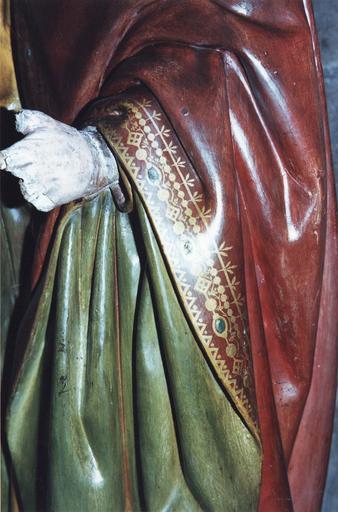 Groupe sculpté grandeur nature : La Mise au tombeau, marbre et pierre sculptée et peinte, 16e siècle, détail de la main gauche de Joseph d'Arimathie