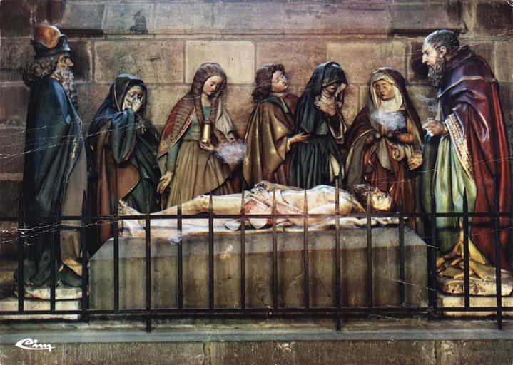 groupe sculpté grandeur nature : La Mise au tombeau, marbre et pierre sculptée et peinte, 16e siècle